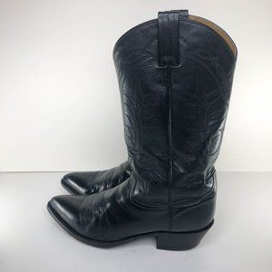 TONY LAMA Black Leather Cowboy Western Boots Mens